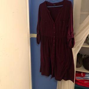 TORRID MAROON 3/4 SLEEVE DRESS